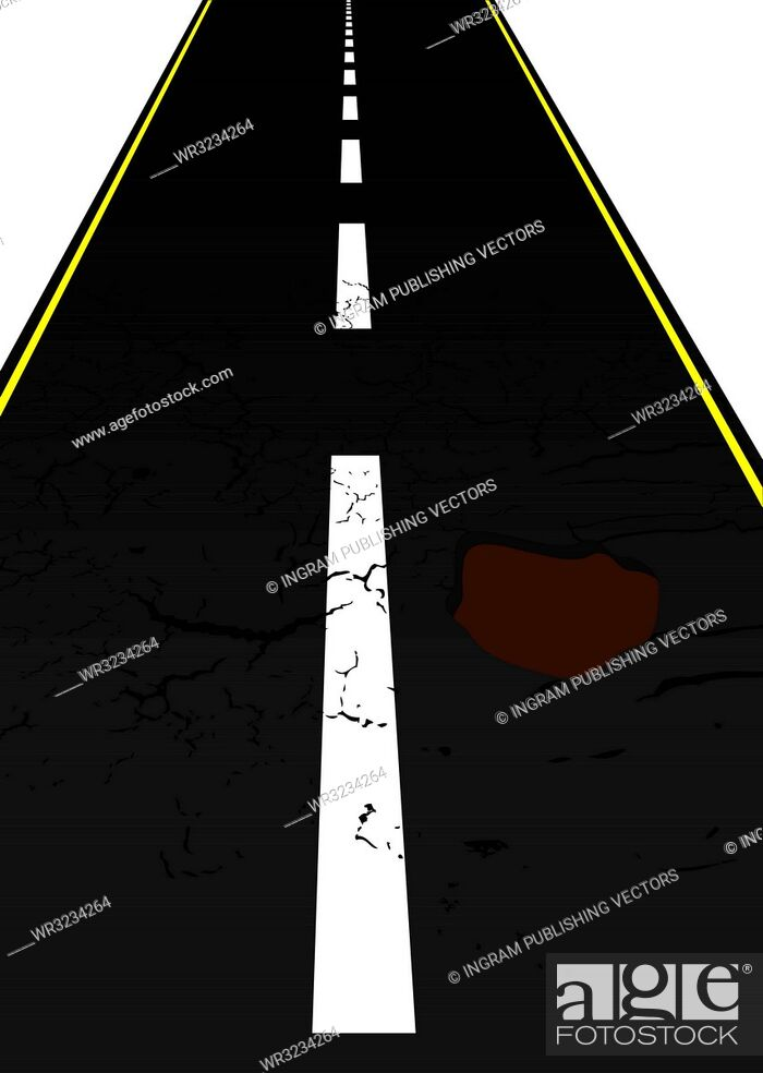 Vector: Main road with cracked mettled surface with pot holes.