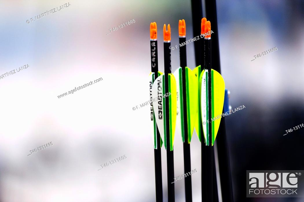 Stock Photo: Colored arrows for archery.