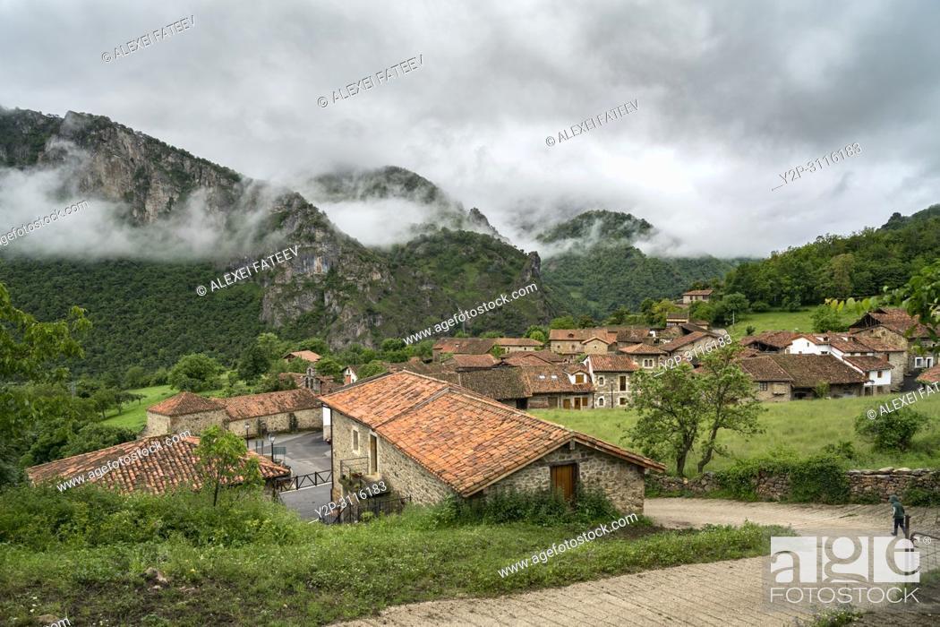 Stock Photo: Small village Mogrovejo in Picos de Europa mountain rnage in Cantabria, Spain.