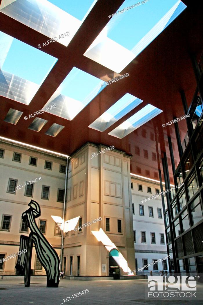 Stock Photo: Reina Sofia art center, 1986-2005, architect: Jean Nouvel, Madrid,.