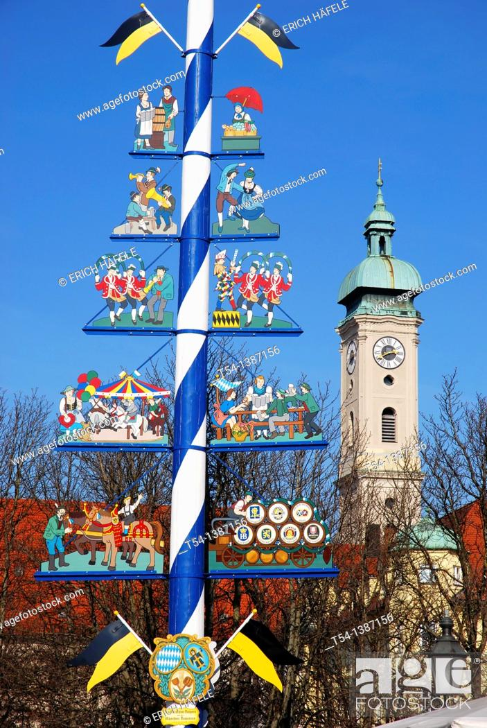 Stock Photo: Maypole Viktualienmarkt in Munich.