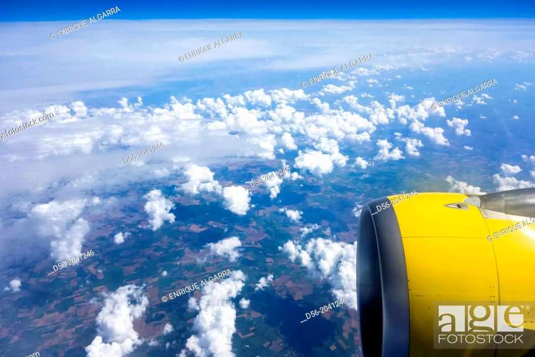 Stock Photo: Aerial view from a window jet plane.