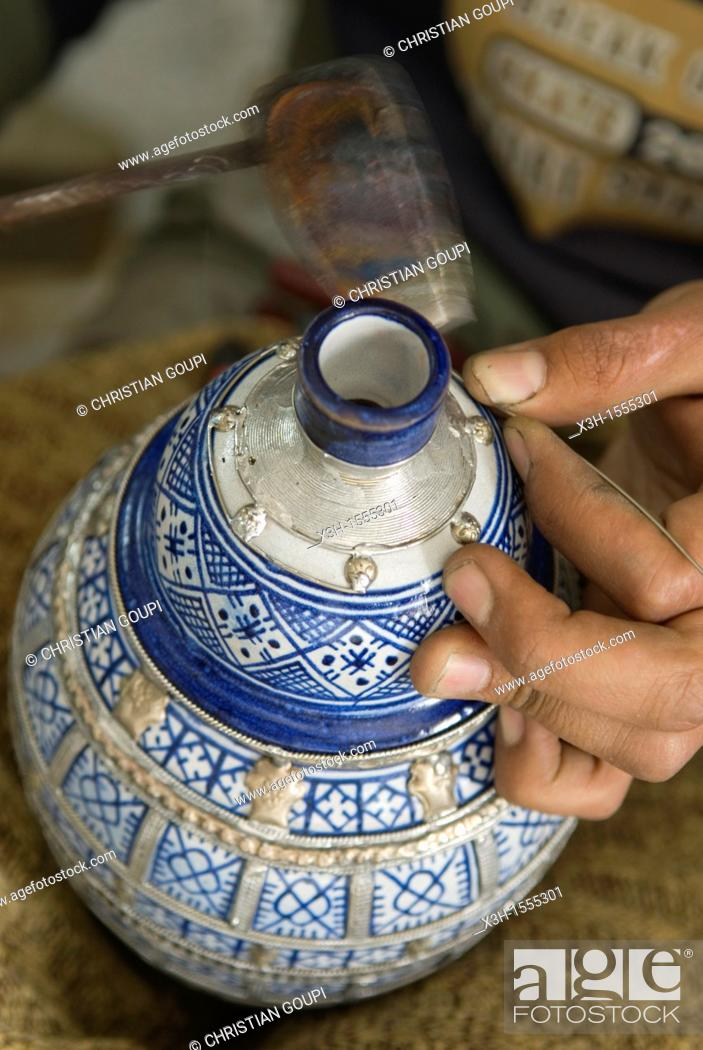 Stock Photo: decoration with lead or silver, pottery, Fes, Morocco, North Africa.