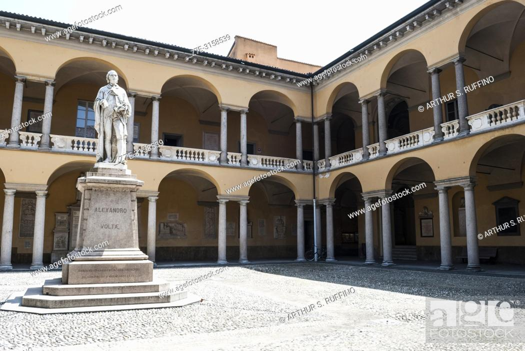 Stock Photo: Statue of Alessandro Volta, university courtyard, University of Pavia, Pavia, Lombardy, Italy, Europe.