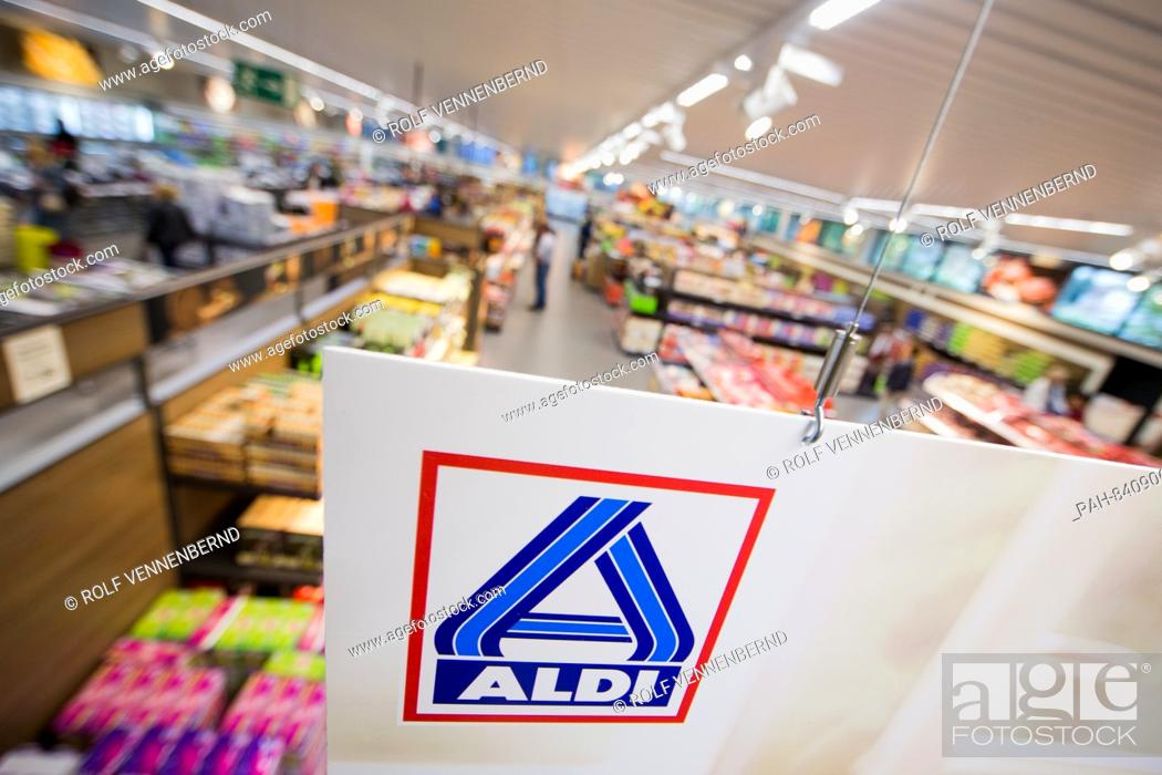 View of the newly designed interior of a Aldi Nord store in