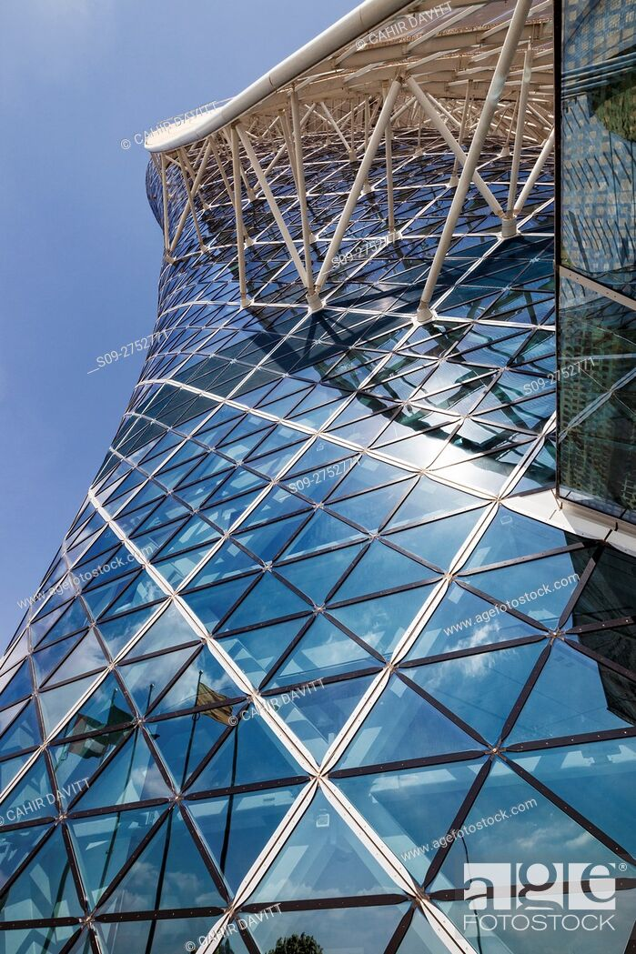 Stock Photo: Contemporary styled Hyatt Capital Gate Hotel, designed by RMJM Architects in Capital Centre, Abu Dhabi, United Arab Emirates.