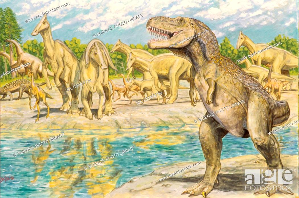 Stock Photo: Tarbosaurus bataar dinosaur, artwork. This carnivorous dinosaur lived in the Late Cretaceous period around 70 million years ago.