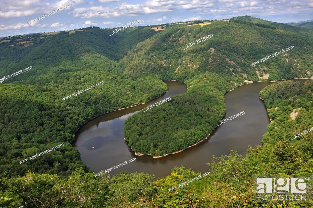 Stock Photo: Queuille's meander (Meandre de Queuille) of the Sioule River, Puy-de-Dome department, Auvergne-Rhone-Alpes region, France, Europe.