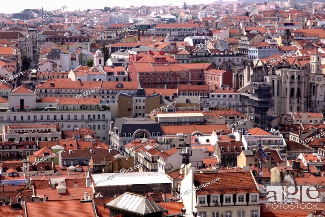 Stock Photo: Lisbon skyline view from Castelo de Sao Jorge Portugal.