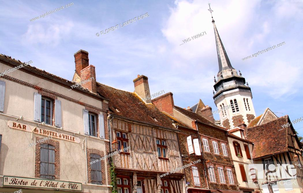 Stock Photo: Tonw of France, Burgundy, Yonne, Toucy, medieval town with its church, city of birth of the famous encyclopaedist Pierre Larousse 1817-1875.