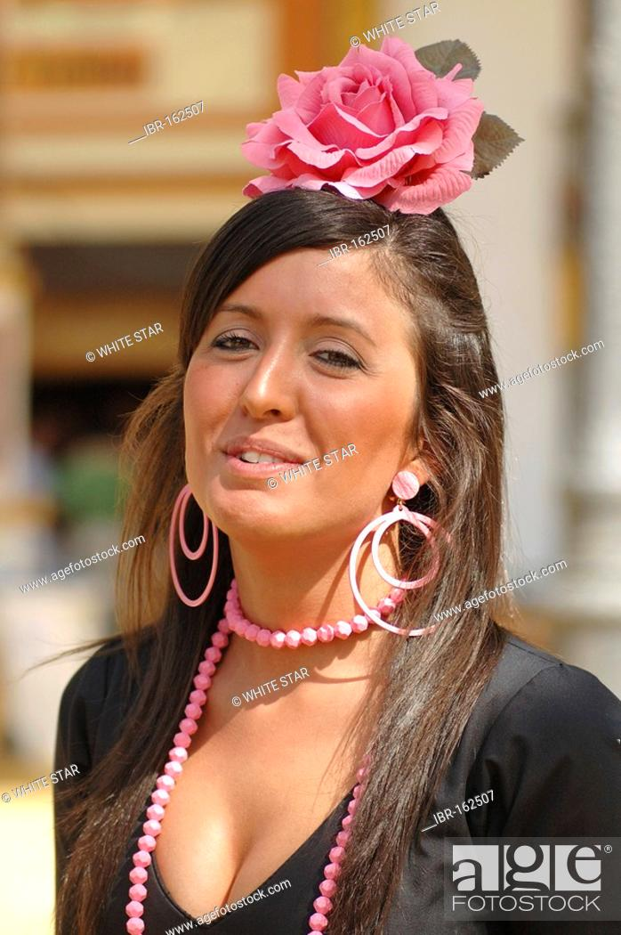 Stock Photo: Girl in traje de gitana , Feria de Caballo , Jerez de la Frontera , Cadiz , Andalusia , Spain , Europe.
