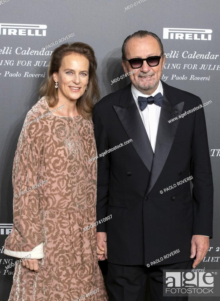 Stock Photo: Paolo Roversi and his partner during the presentation of the Pirelli 2020 Calendar at the Verona Philharmonic Theater. Verona (Italy), December 3rd, 2019.