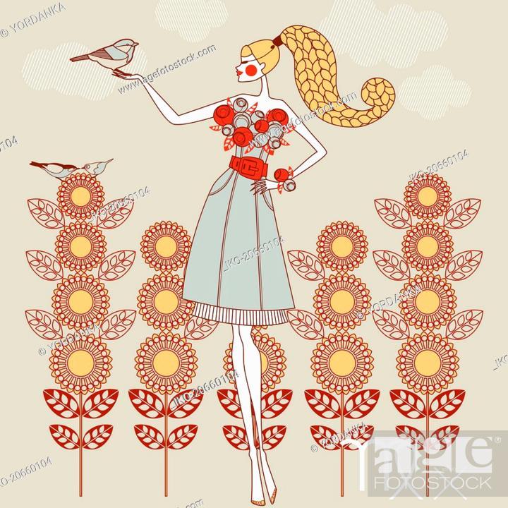 Photo de stock: Fashion model as virgo zodiac sign.