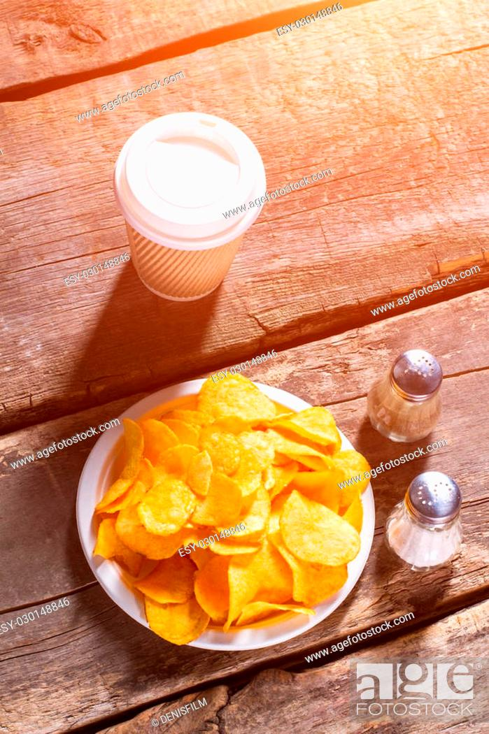 Drink And Chips On Table Hot Coffee