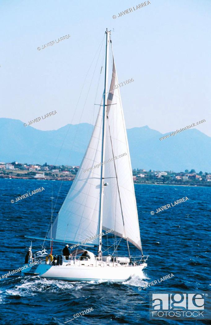 Stock Photo: Sailing ship at Pireas port. Athens. Greece.