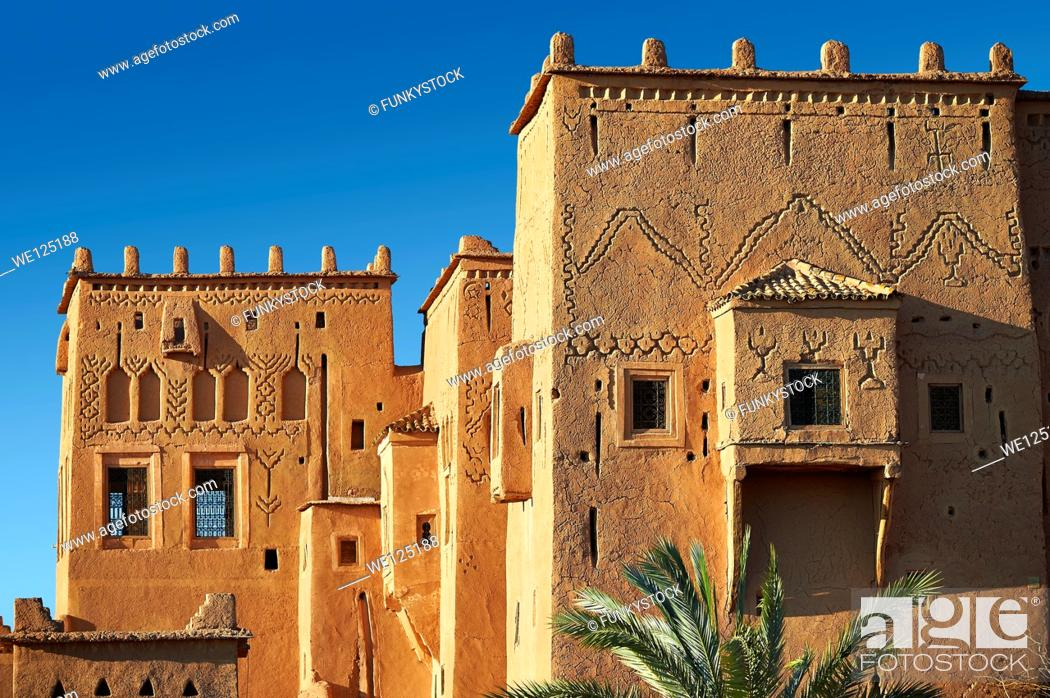 Stock Photo: Exterior of the mud brick Kasbah of Taourirt, Ouarzazate, Morocco, built by Pasha Glaoui. A Unesco World Heritage Site.
