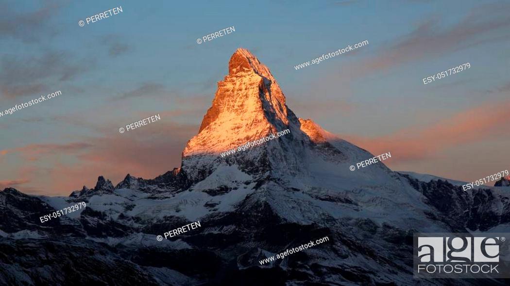 Stock Photo: Matterhorn at sunrise. View from Fluhalp, Zermatt.