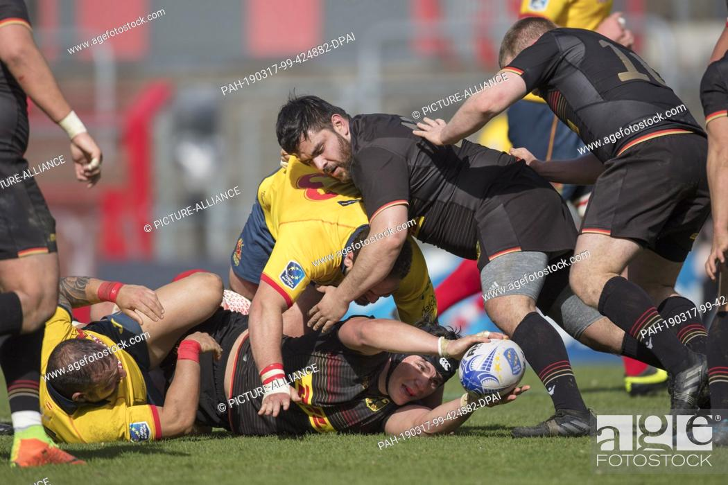 Stock Photo: 17 March 2019, North Rhine-Westphalia, Köln: Rugby: European Championship, Division 1A, Europe Championship 2019, Germany - Spain.