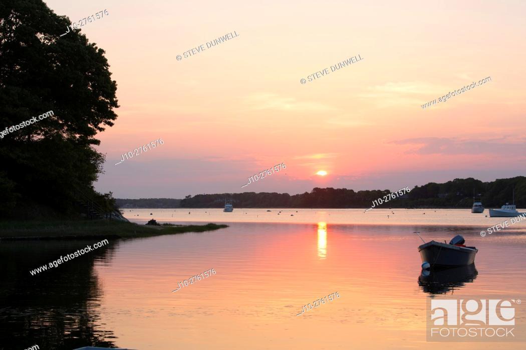 Stock Photo: Cotuit landing sunrise, Cape Cod, Massachusetts, USA.