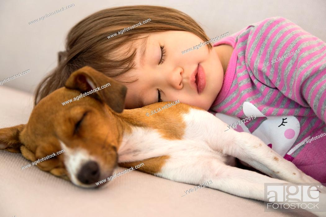 Stock Photo: Toddler girl sleeping next to mixed breed puppy dog.