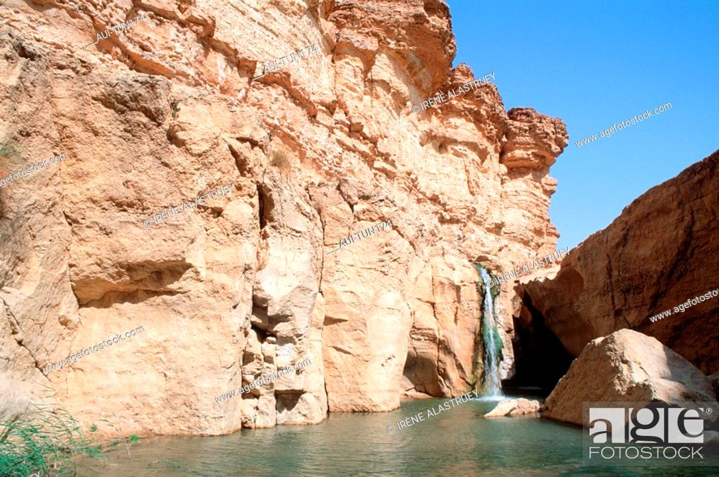 Stock Photo: Tunisia - The South - Chott el Jerid Region - Montain Oasis - Tozeur Region - Tamerza Oasis - The Grand Cascade.