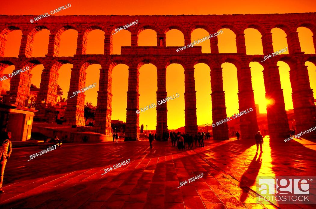 Stock Photo: The Roman Aqueduct, 1st century b.C. Castilla León. Segovia, Spain.