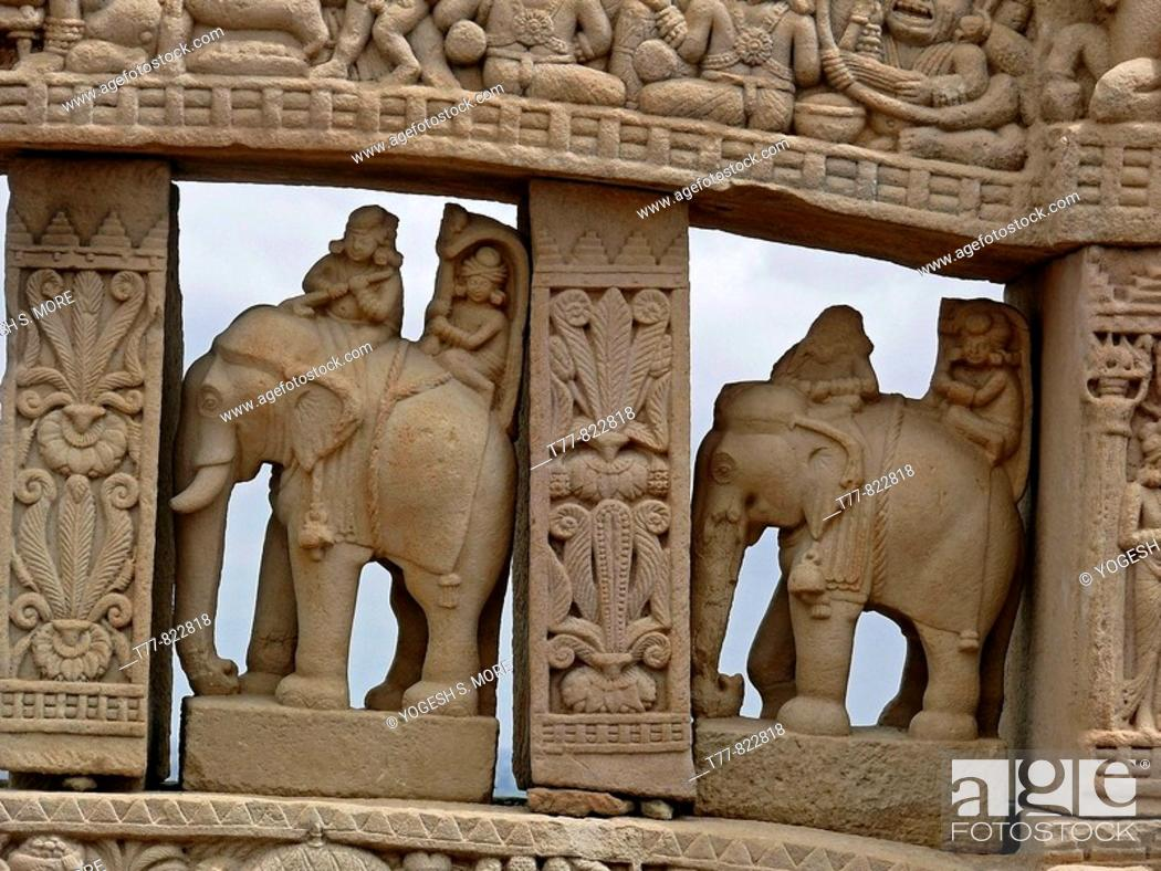 Stock Photo: Uttari toran dwar; North gate; Sanchi; Madhya pradesh; India. Emperor Asoka (273-236 B.C.) built stupas in Buddha's honour at many places in India.