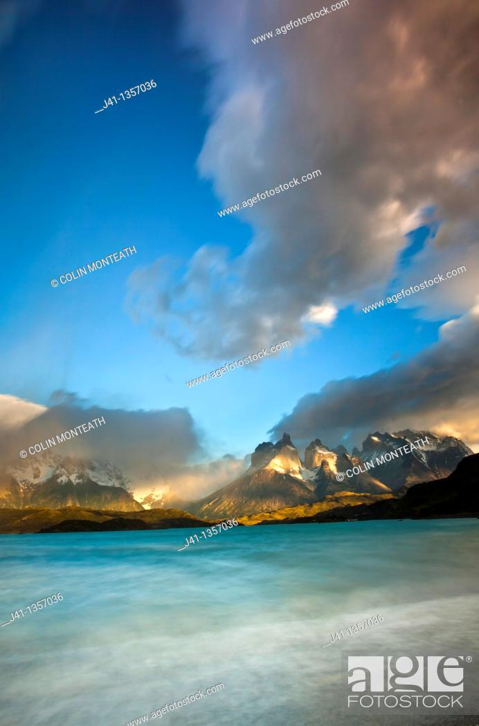 Stock Photo: Cuernos del Paine at dawn, Lago Pehoe, Parque Nacional Torres del Paine, Patagonia, Chile.