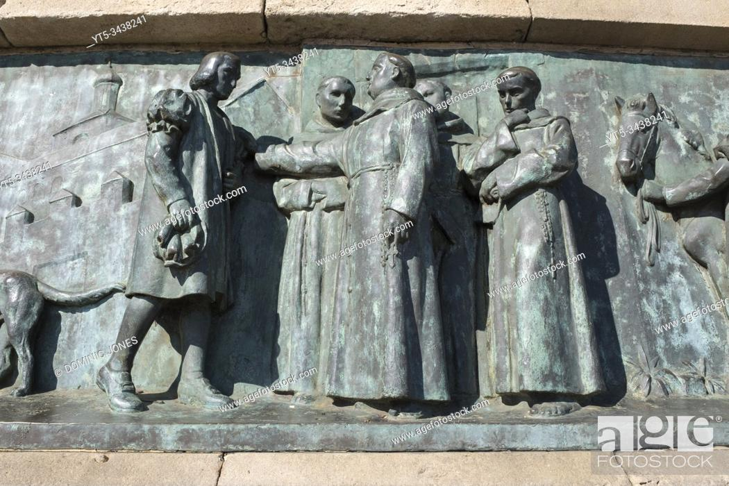 Stock Photo: Detail of the. Christopher Columbus Monument. Barcelona, Catalonia, Spain, Europe.