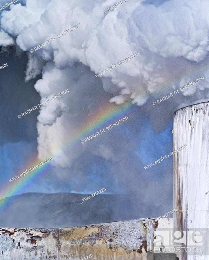 Stock Photo: Geothermal Steam, Hellisheidi Power Plant, Iceland.