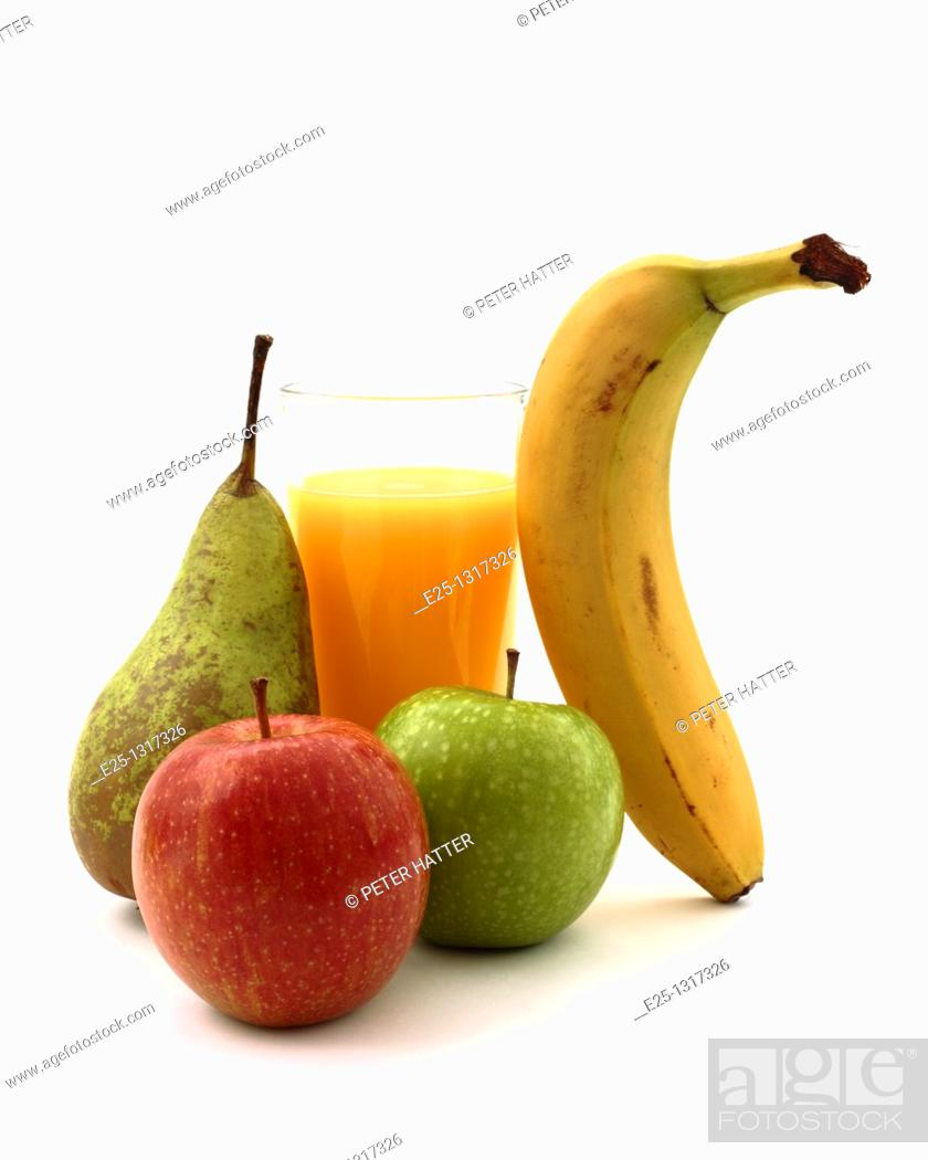 Stock Photo: A glass of orange juice with a banana, red and green apples and a pear on a white background.
