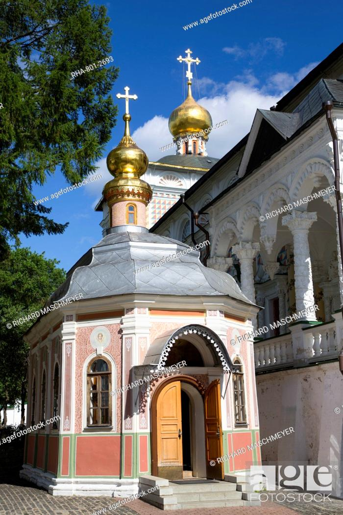 Stock Photo: Chapel, The Holy Trinity St. Sergius Lavra, UNESCO World Heritage Site, Sergiev Posad, Golden Ring, Moscow Oblast, Russia, Europe.