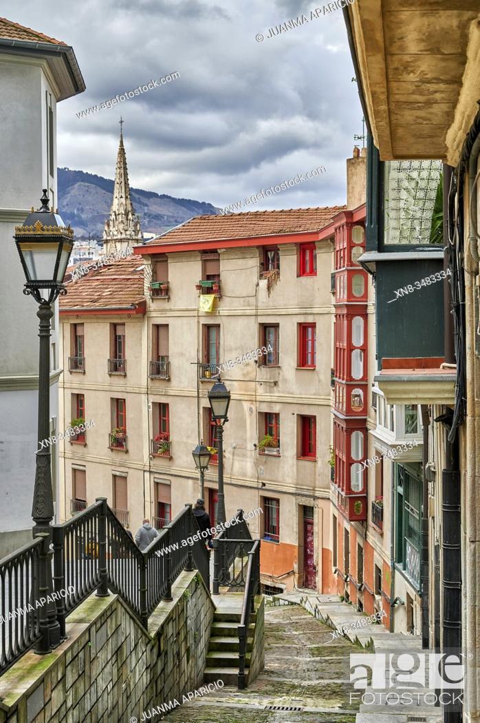 Stock Photo: Calzadas de Mallona (Mallona pavement), Bilbao, Biscay, Basque Country, Euskadi, Euskal Herria, Spain, Europe.
