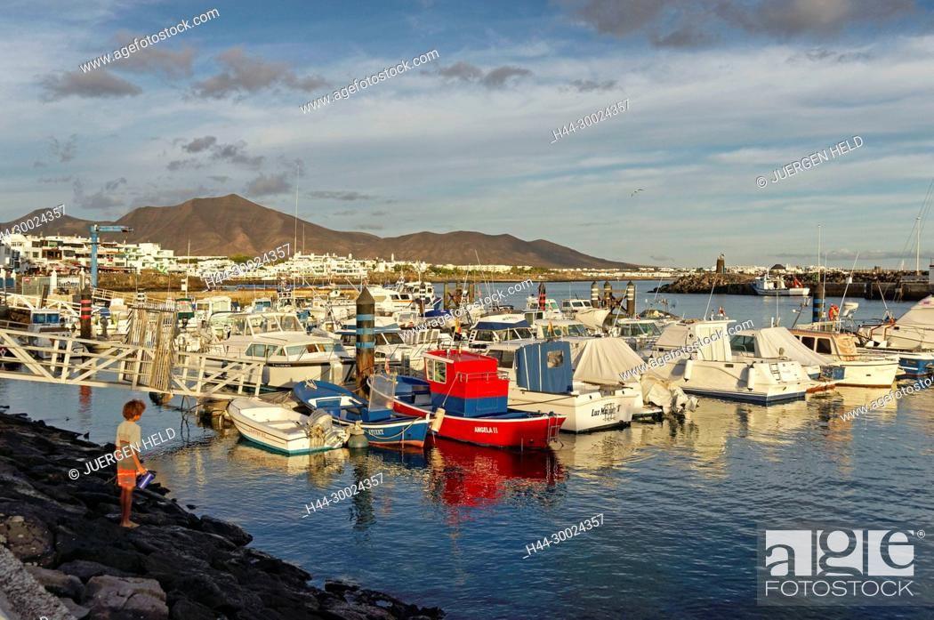Stock Photo: Playa Blanca, Yacht Harbour, Lanzarote, Canary Islands, Spain.