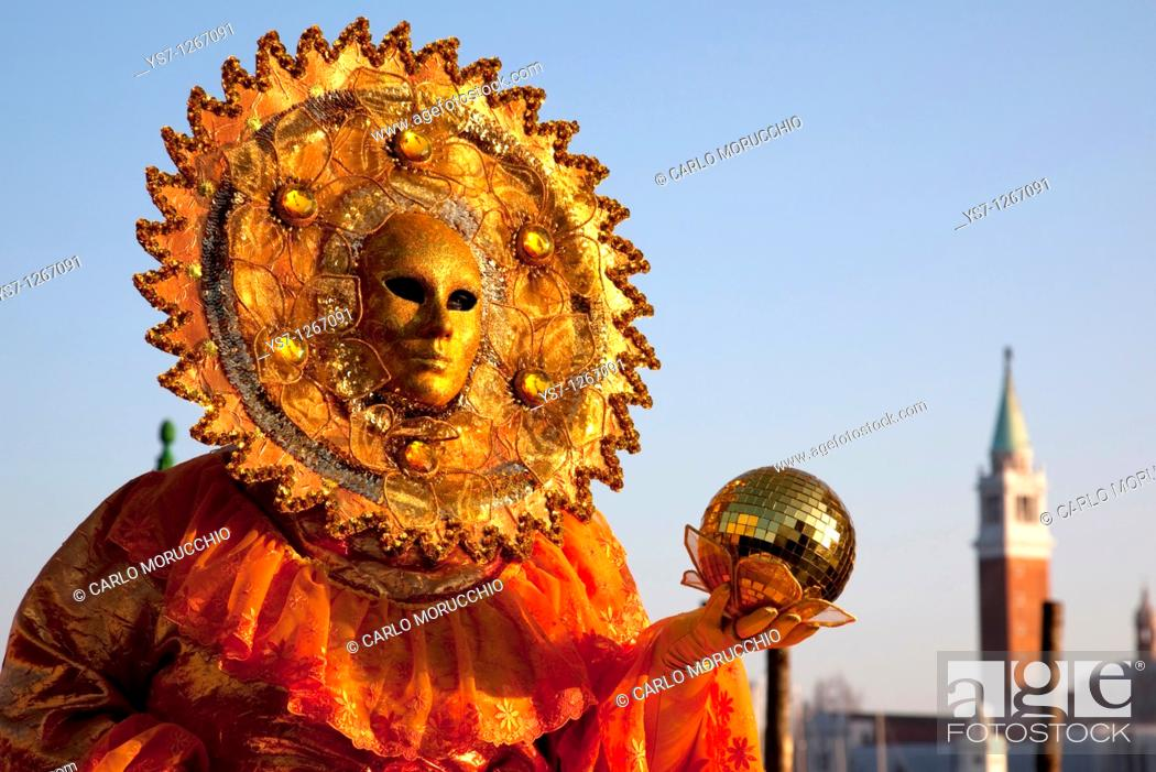 Stock Photo: Costumes and masks during Venice Carnival, St  Mark's square, Venice, Italy.