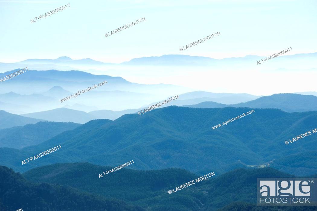 Stock Photo: Foggy mountain landscape.