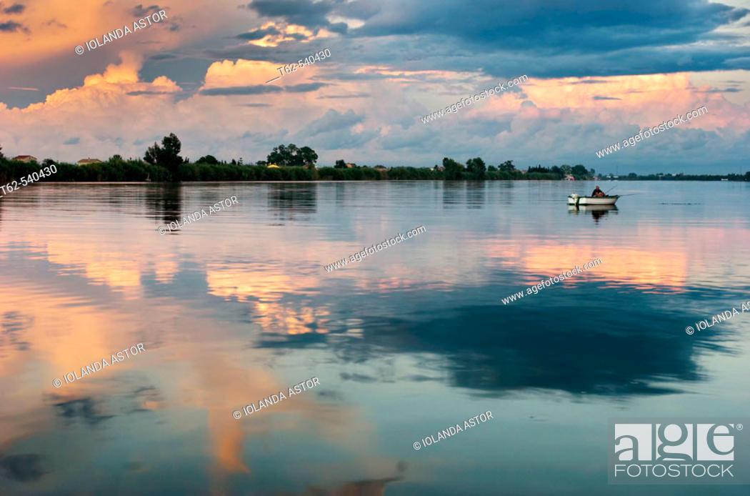 Stock Photo: Fishing. Ebro River delta. Tarragona province, Catalonia, Spain.