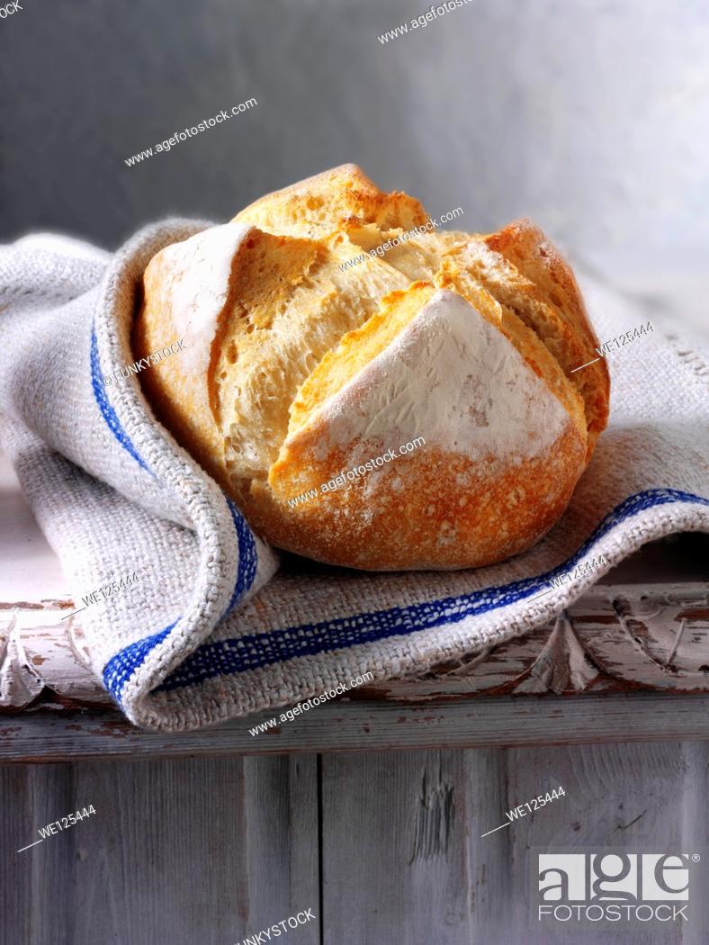 Stock Photo: Artisan organic Pain Au Levain French Bread.