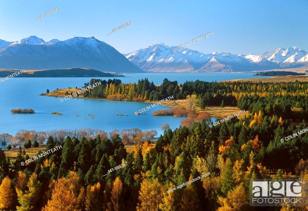 Stock Photo: Autumn at Lake Tekapo, South Canterbury, New Zealand.