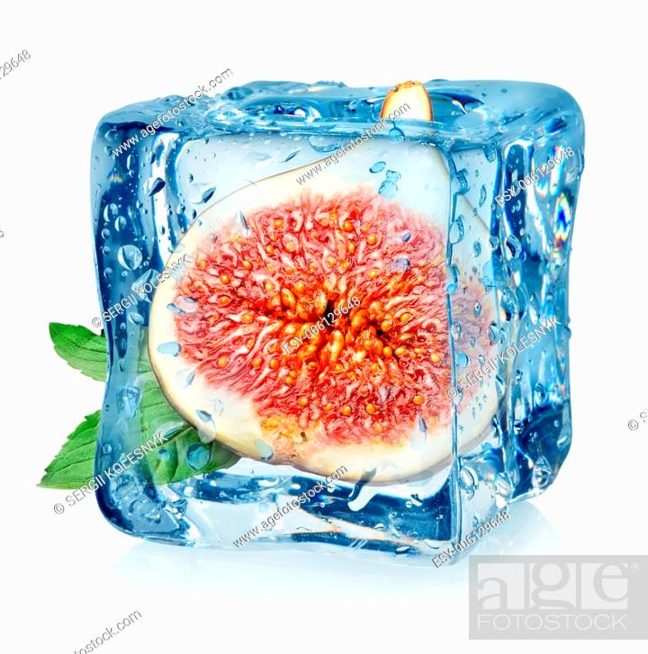 Stock Photo: Figs in ice cube isolated on a white background.