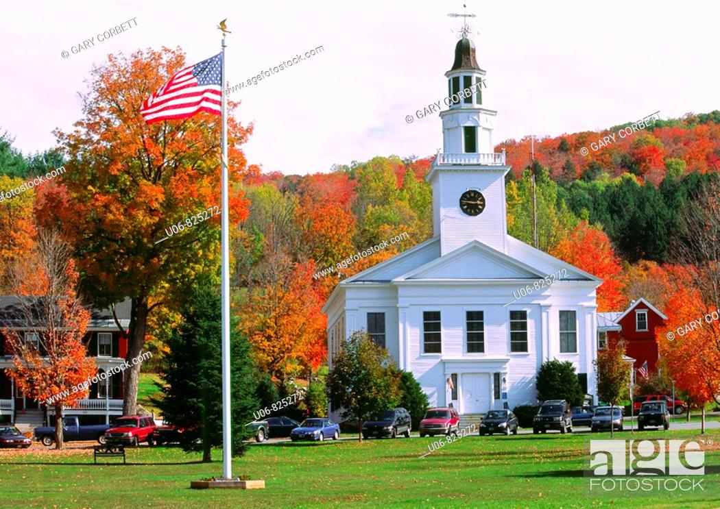 Stock Photo: Autumn in the town of Chelsea in Vermont State in the USA.