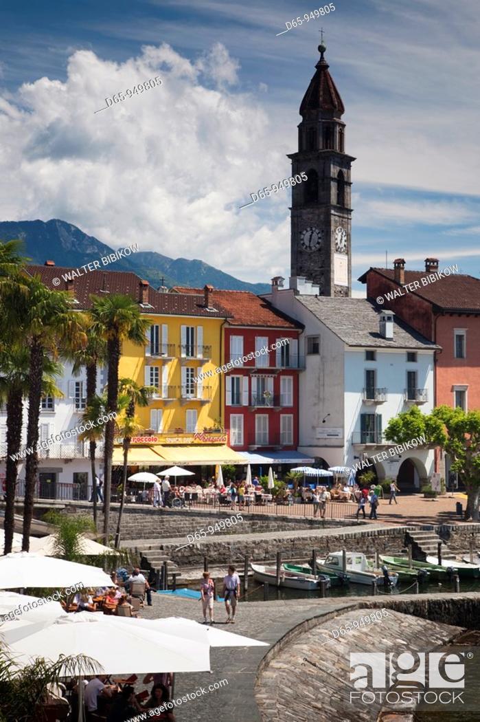 Stock Photo: Switzerland, Ticino, Lake Maggiore, Ascona, Piazza Motta and lakefront.