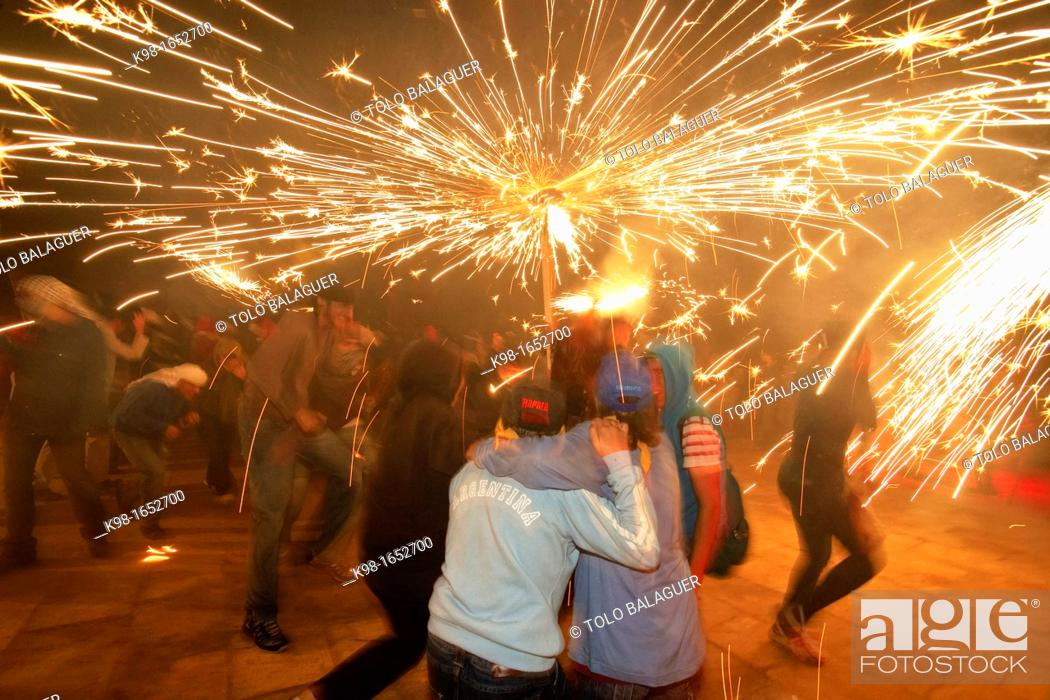 Stock Photo: 'Correfoc', Feast of Feasts fire demons and Sant Joan Palma Mallorca Balearic Islands Spain.