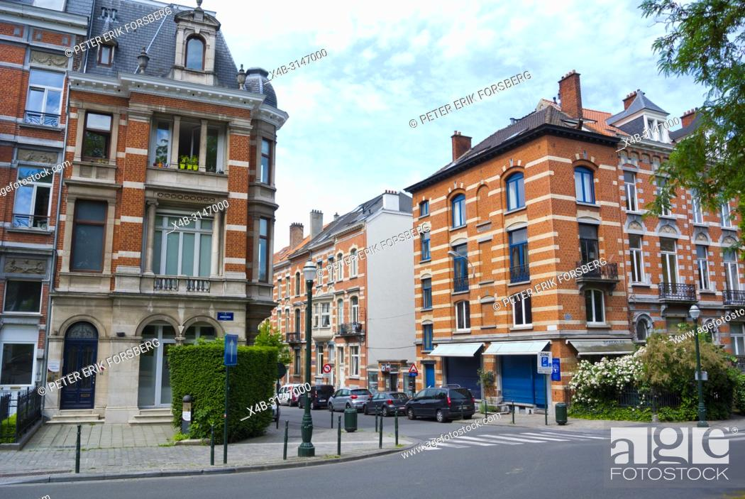Stock Photo: Houses, Square Ambiorix, Quartier des Squares, Brussels, Belgium.