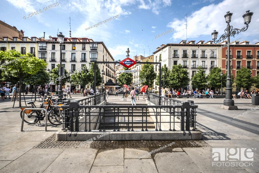 Stock Photo: Entrance to the Madrid Metro subway system. Madrid Metro is great public transport to travel in the city. It has many stations and lines.