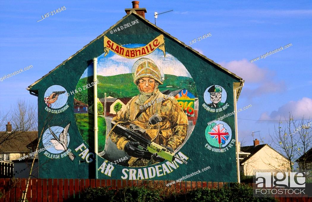 Stock Photo: Murals on the wall of a house, Belfast, County Antrim, Ulster, Northern Ireland, United Kingdom, Europe.
