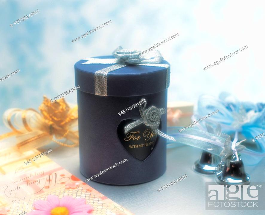 Stock Photo: present, gift, letter, love, heart, gift box, film.