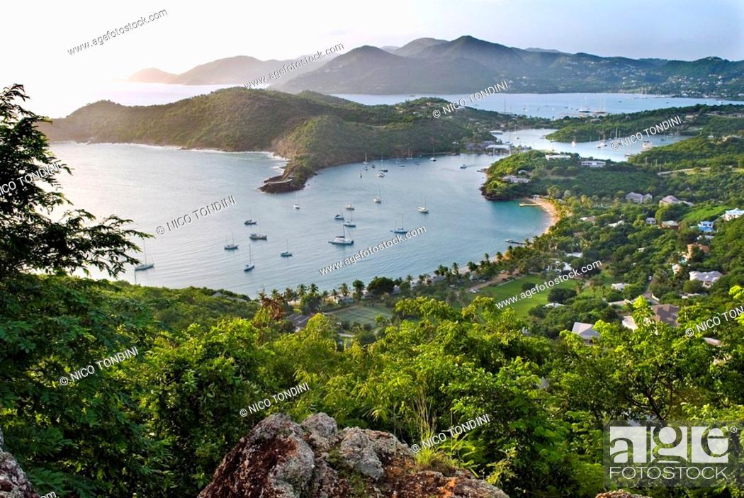 Stock Photo: View of Falmouth Harbour from Shirley Heights, Antigua, Leeward Islands, West Indies, Caribbean, Central America.