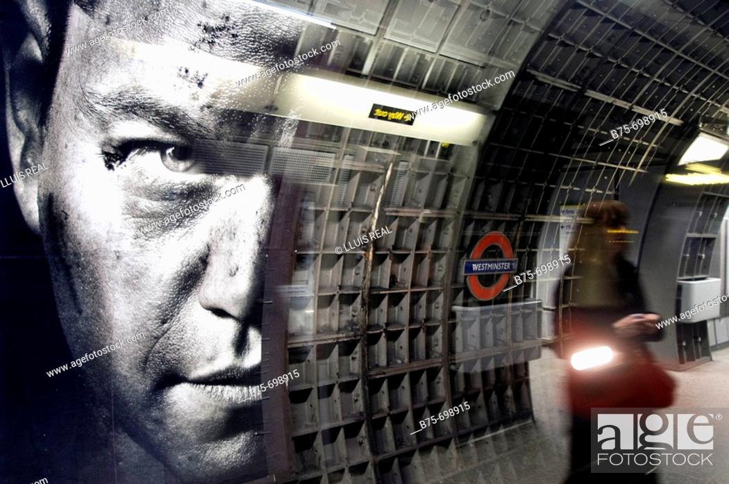 Stock Photo: Westminster tube station, London, England, U.K.