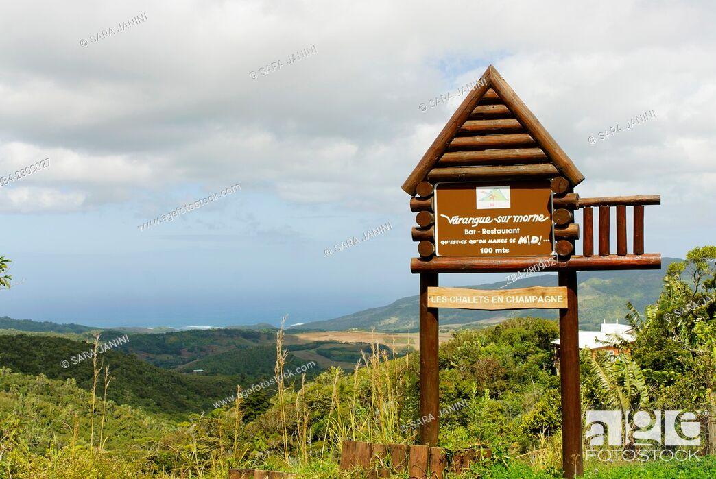 Stock Photo: Varangue Sur Morne Restaurant, Plaine Champagne Road, Chamarel, Mauritius, Indian Ocean, Africa.